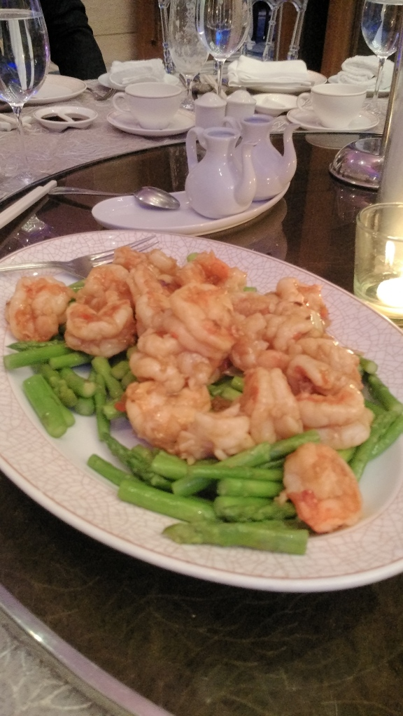 Sauteed Prawns and Asparagus and XO Sauce